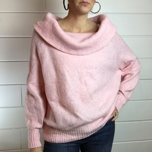 🎄H&M Cowl Neck, Pink Fuzzy Sweater